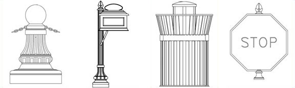 Site Furnishings - Benches, Bollards, Street Signs, Trash Recepticles